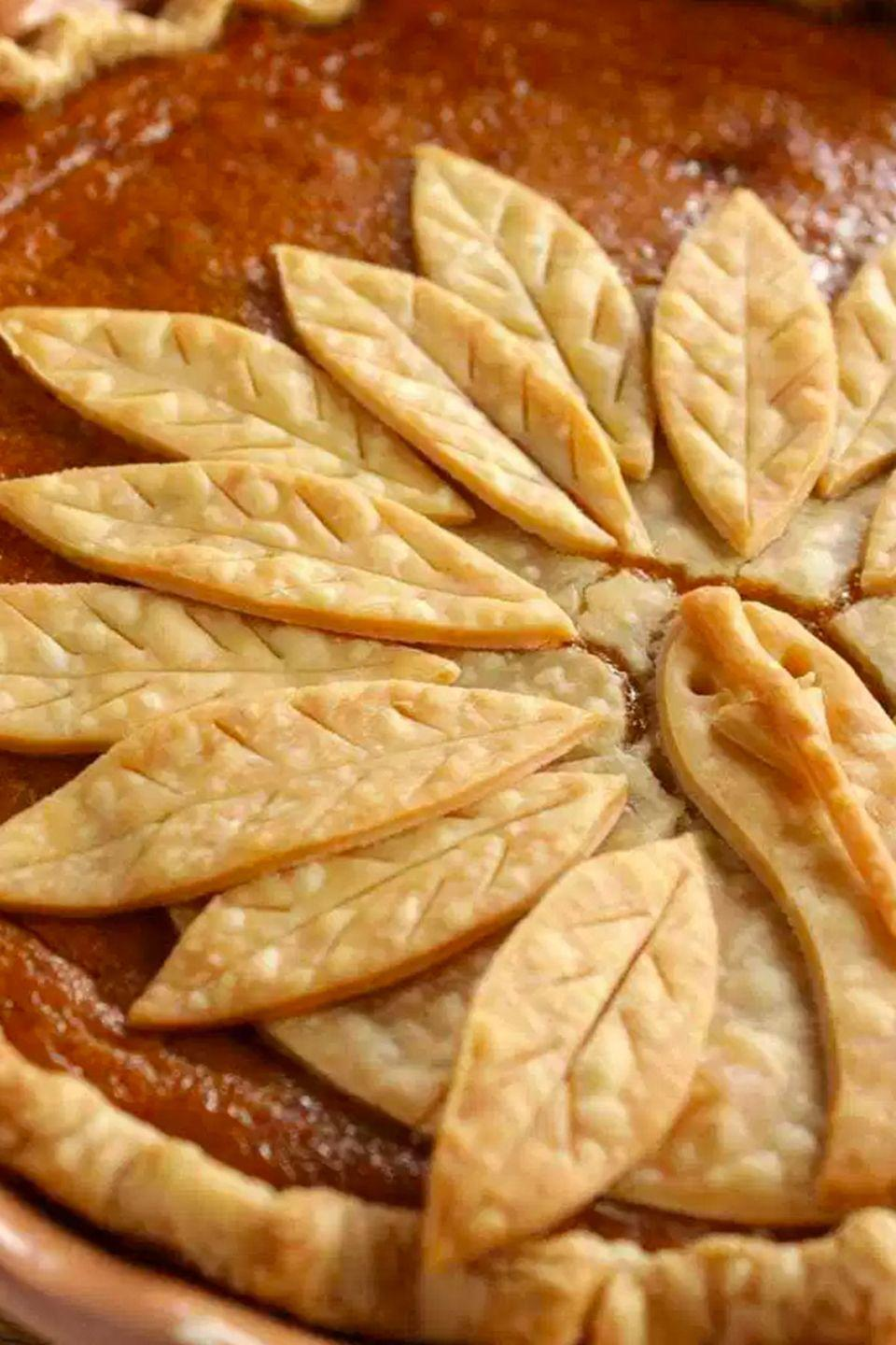 """<p>The best part of this adorable turkey-shaped pie crust decoration: no cookie-cutters needed.</p><p><strong>Get the recipe at <a href=""""http://www.kudoskitchenbyrenee.com/2016/10/adorable-turkey-crust-pumpkin-pie.html"""" rel=""""nofollow noopener"""" target=""""_blank"""" data-ylk=""""slk:Kudos Kitchen by Renee"""" class=""""link rapid-noclick-resp"""">Kudos Kitchen by Renee</a>.</strong> </p>"""