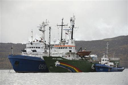 "Greenpeace ship ""Arctic Sunrise"" is seen anchored outside the Arctic port city of Murmansk"
