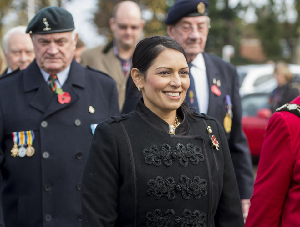 Priti Patel during the annual service of remembrance at Witham War Memorial in Essex. (Photo by David Mirzeof/PA Images via Getty Images)