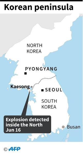 Map showing Kaesong industrial complext inside North Korea near the border with the South where an explosion was heard on Tuesday. (AFP Photo/)