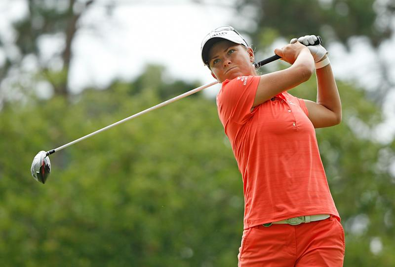 Lee-Anne Pace of South Africa watches her tee shot on the seventh hole during the third round of the Marathon Classic at Highland Meadows Golf Club on July 19, 2014 in Sylvania, Ohio