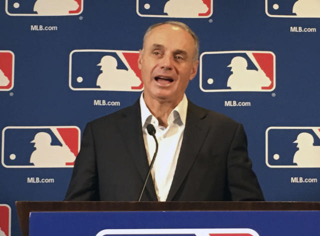 Major League Baseball commissioner Rob Manfred speaks at the baseball owners meeting in Atlanta, Thursday, Nov. 15, 2018. (AP Photo/Paul newberry)