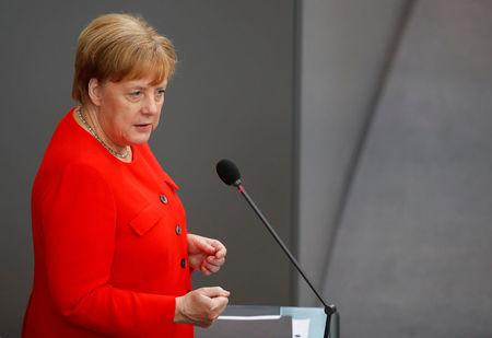 German Chancellor Angela Merkel gestures during a session at the lower house of parliament Bundestag in Berlin, Germany June 6, 2018. REUTERS/Axel Schmidt
