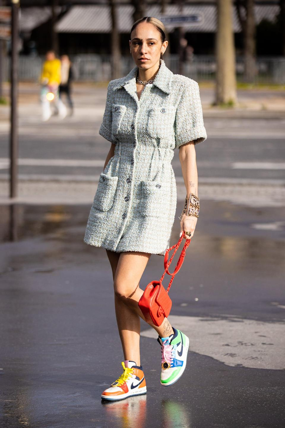 <p>Team a sporty colorblock trainer with a bouclé dress for something unexpected.</p>