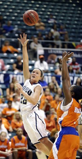 Oral Roberts' Jaci Bigham (22) shoots as Sam Houston State's Jasmine Johnson (3) defends during the first half of the Southland Conference championship NCAA college basketball game, Saturday, March 16, 2013, in Katy, Texas. (AP Photo/David J. Phillip)