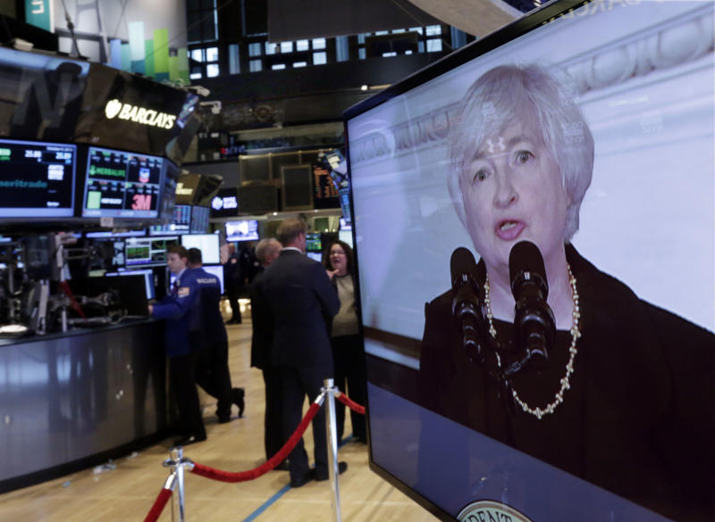 Federal Reserve Chair nominee Janet Yellen is shown on a television monitor on the trading floor of the New York Stock Exchange Wednesday, Oct. 9, 2013. President Barack Obama says that in Janet Yellen he's found a tough and proven leader to take over as chairman of the Federal Reserve. (AP Photo/Richard Drew)