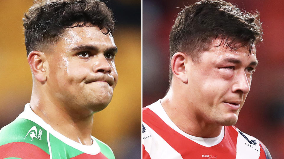 Latrell Mitchell and Joey Manu, pictured here during the Rabbitohs' win over the Roosters.