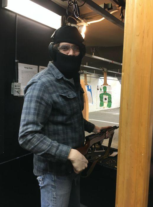 A masked member of the Socialist Rifle Association (SRA) at a Trigger Warning meet-up, Quickshot Shooting Range, Atlanta, in January 2019. (Photo: Courtesy of Mel Plaut)