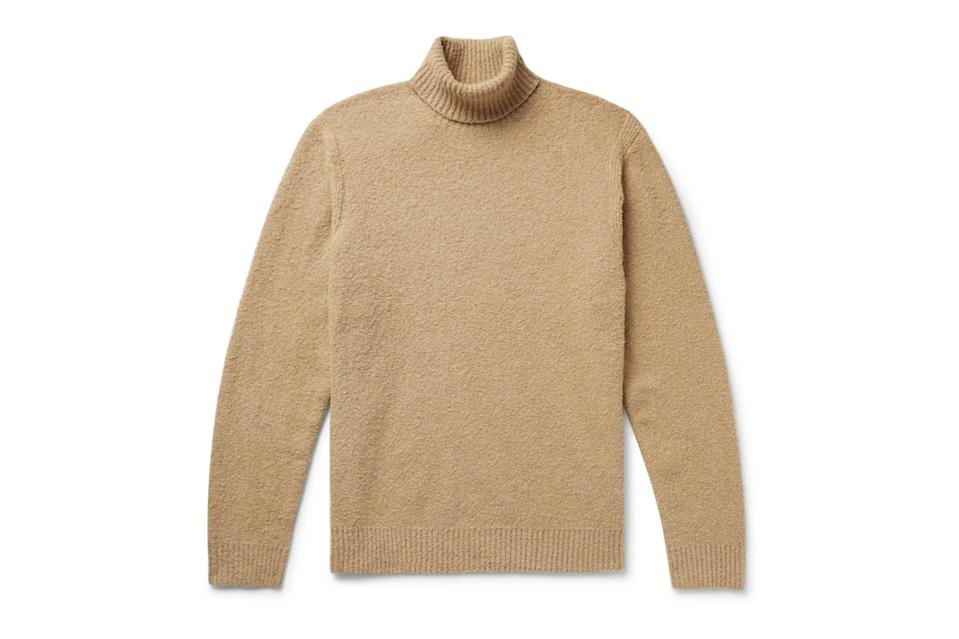 """Turtlenecks are the thick-frame glasses you don't need a prescription or good bone structure to wear. They make you look smarter and more sophisticated instantly—especially in a studious color like Club Monaco's caramel brown.<br> <br> <em>Club Monaco bouclé turtleneck</em> $150, Club Monaco. <a href=""""https://www.clubmonaco.com/en/men-clothing-sweaters/boucl%C3%A9-turtleneck/562553.html?dwvar562553_colorname=Camel&cgid=men-clothing-sweaters&webcat=men%2Fclothing%2FSweaters#webcat=men%257Cclothing%257CSweaters&start=1&cgid=men-clothing-sweaters"""" rel=""""nofollow noopener"""" target=""""_blank"""" data-ylk=""""slk:Get it now!"""" class=""""link rapid-noclick-resp"""">Get it now!</a>"""