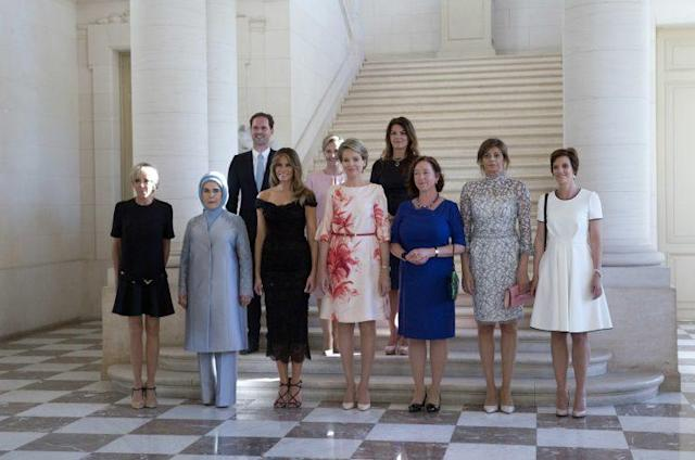 From left, France's Brigitte Trogneux, Turkey's Emine Erdogan, Luxembourg's Gauthier Destenay, USA's Melania Trump, Slovenia's Mojca Stropnik, Queen Mathilde of Belgium, Iceland's Thora Margret Baldvinsdottir, Norway's Ingrid Schulerud-Stoltenberg, Bulgaria's Desislava Radeva, and Belgium's Amelie Derbaudrenghien. (Photo: Virginia Mayo/AP)