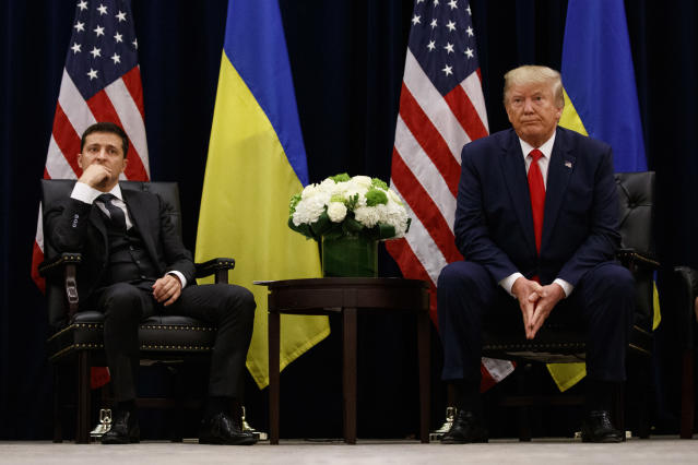 President Trump with Ukrainian President Volodymyr Zelensky in September. (Photo: Evan Vucci/AP)
