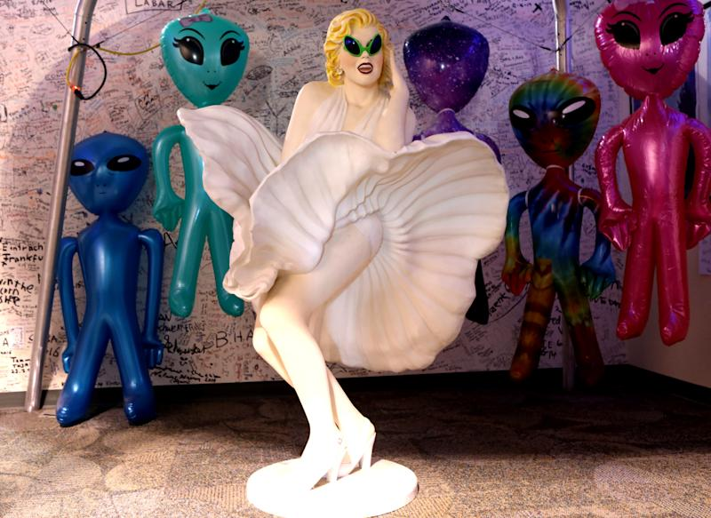 Alien themed decorations are seen at the Alien Research Center in Hiko as an influx of tourists responding to a call to 'storm' Area 51, a secretive U.S. military base believed by UFO enthusiasts to hold government secrets about extra-terrestrials, is expected in Rachel, Nevada, Sept. 19, 2019. (Photo: Jim Urquhart/Reuters)