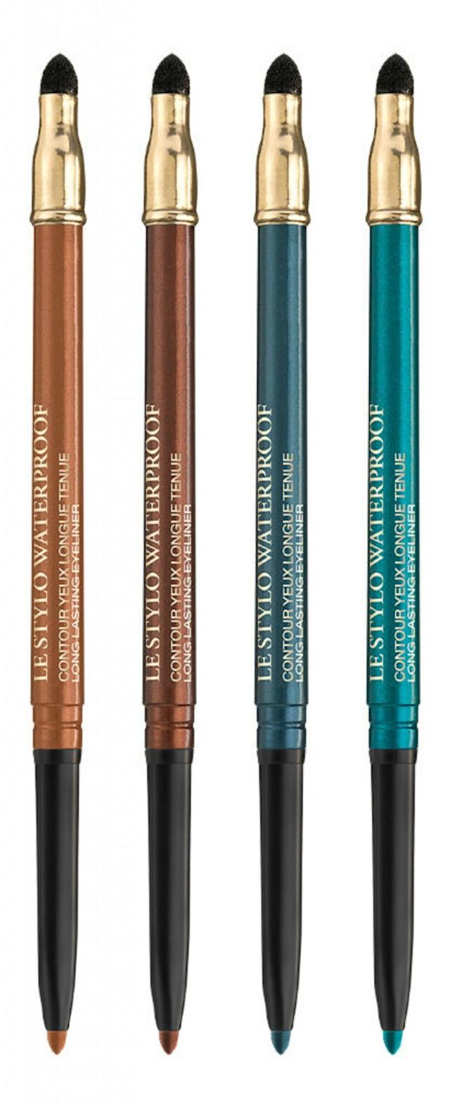 "<p>Instead of wearing a full eyelid of thick eyeshadow, try adding a stripe of one of these mesmerizing metallic hues to your eyes. The creamy liner easily glides on and won't budge as soon as you break a sweat. (<a href=""http://www.lancome-usa.com/makeup/eyes/eyeliners-and-pencils/le-stylo-waterproof/LAN51.html"" rel=""nofollow noopener"" target=""_blank"" data-ylk=""slk:$27"" class=""link rapid-noclick-resp"">$27</a>, lancome-usa.com) (Photo: Lancôme) </p>"