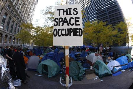 A view of the Occupy Wall Street encampment at Zuccotti Park in lower Manhattan in this November 10, 2011 file photo. As Occupy's two-year anniversary approaches on September 17, the movement that once captivated national attention has largely faded. REUTERS/Mike Segar/Files