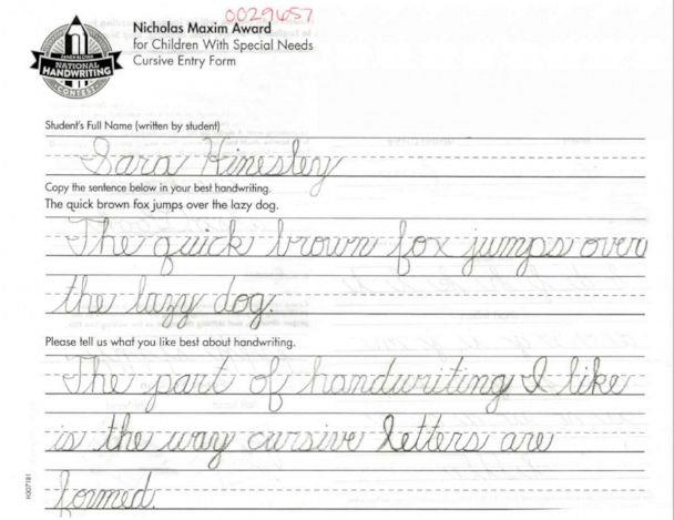 PHOTO: Sara Hinesley's entry form for the Nicholas Maxim Award in the 2019 Zaner-Bloser National Handwriting Contest is pictured here. (Courtesy Zaner-Bloser)