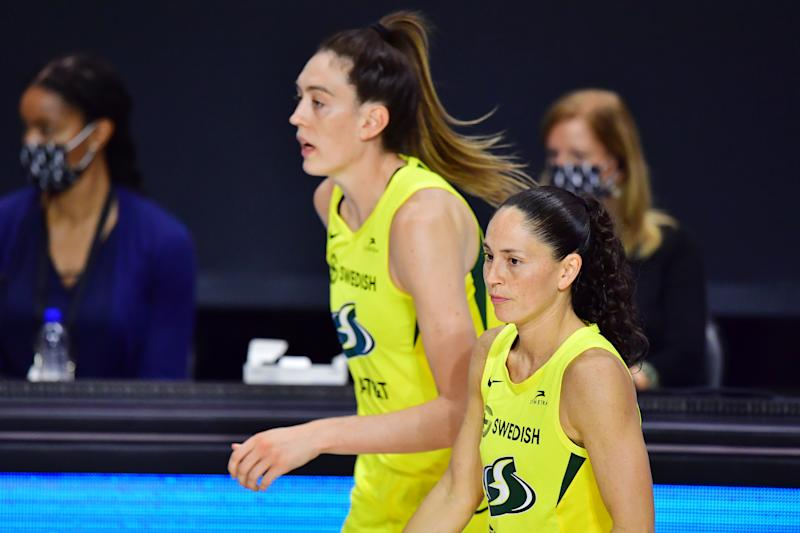 PALMETTO, FLORIDA - OCTOBER 04: Breanna Stewart #30 and Sue Bird #10 of the Seattle Storm run back out to the court after a timeout in the second half of Game 2 of the WNBA Finals against the Las Vegas Aces at Feld Entertainment Center on October 02, 2020 in Palmetto, Florida. NOTE TO USER: User expressly acknowledges and agrees that, by downloading and or using this photograph, User is consenting to the terms and conditions of the Getty Images License Agreement. (Photo by Julio Aguilar/Getty Images)