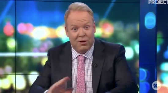 Australian comedian and TV host Peter Helliar was escorted off The Project set on Tuesday night on Channel Ten