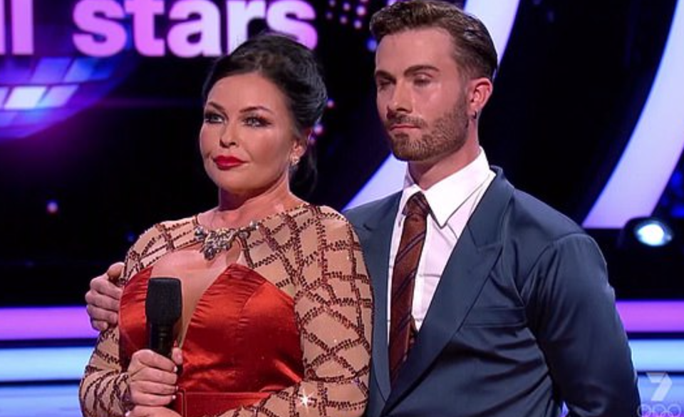 Schapelle Corby and her partner Shae Mountain on Dancing with the Stars after performing the Viennese waltz