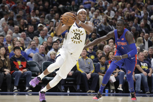 The Pacers' Myles Turner excels at defending the rim and stretching the floor. (AP Photo/Darron Cummings)