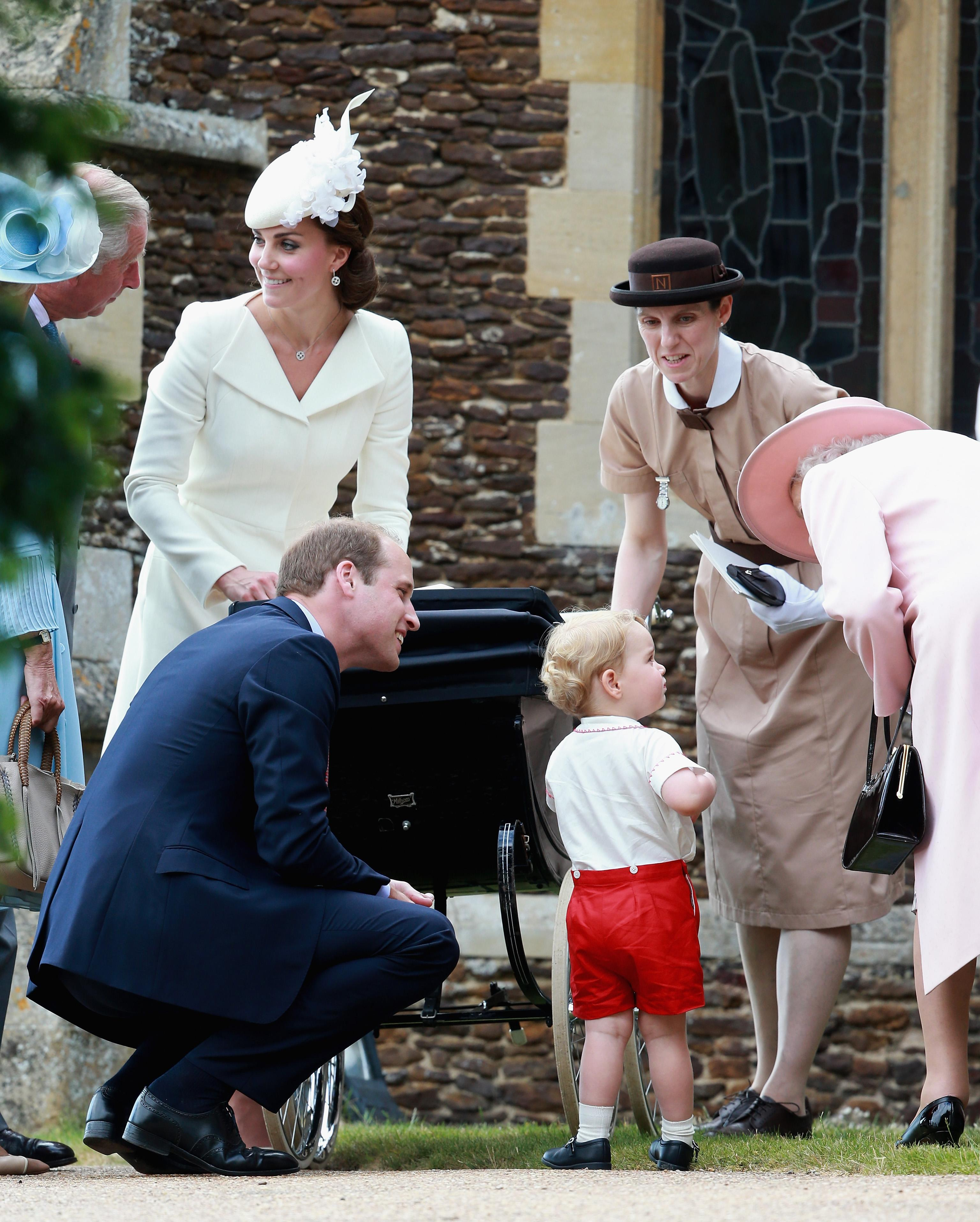 KING'S LYNN, ENGLAND - JULY 05: Catherine, Duchess of Cambridge, Prince William, Duke of Cambridge, Princess Charlotte of Cambridge and Prince George of Cambridge, Queen Elizabeth II and Prince George's nanny, Maria Teresa Turrion Borrallo leave the Church of St Mary Magdalene on the Sandringham Estate for the Christening of Princess Charlotte of Cambridge on July 5, 2015 in King's Lynn, England. (Photo by Chris Jackson/Getty Images)