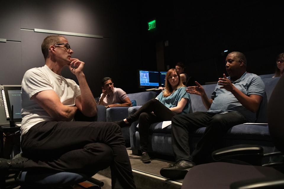 """""""Soul's"""" Pete Docter, Jude Brownbill and Kemp Powers, in a screening room, discuss progress on the feature."""