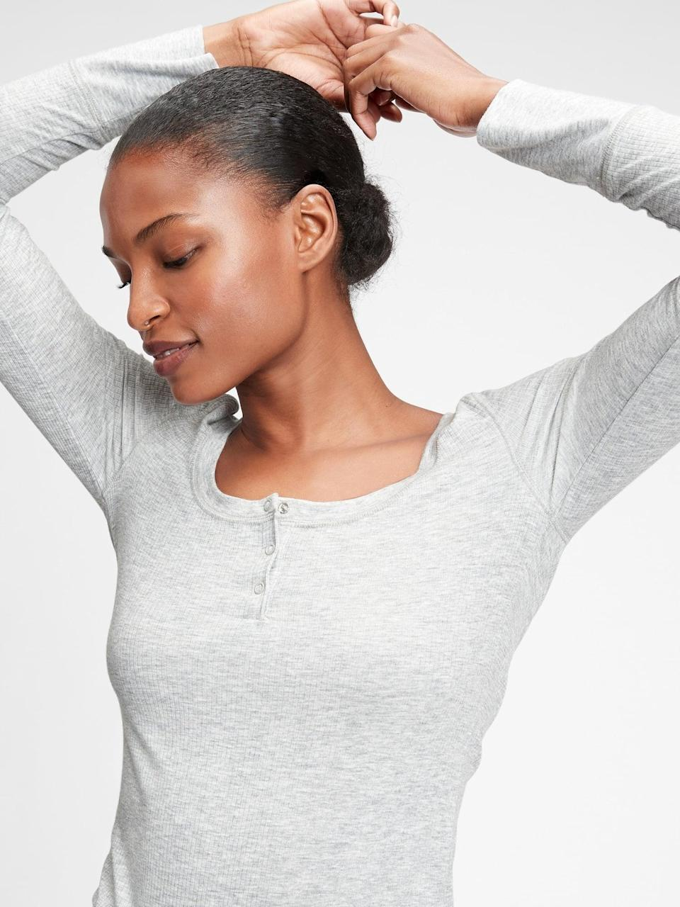 <p>This <span>Gap Ribbed Drop Needle Henley Shirt</span> ($28) is the timeless soft underwear outwear delicate henley that looks great with everything.</p>