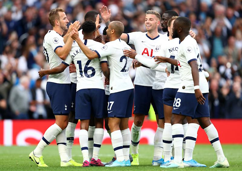 LONDON, ENGLAND - AUGUST 10: Harry Kane of Tottenham Hotspur celebrates with teammates after scoring his team's third goal during the Premier League match between Tottenham Hotspur and Aston Villa at Tottenham Hotspur Stadium on August 10, 2019 in London, United Kingdom. (Photo by Julian Finney/Getty Images)