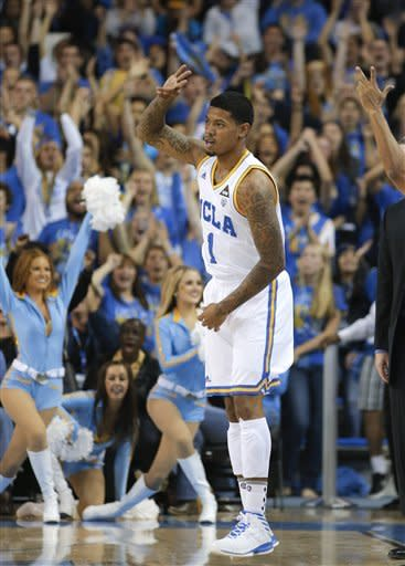 UCLA's Tyler Lamb reacts after making a three-point basket against the Indiana State during the first half of an NCAA college basketball game in Los Angeles, Friday, Nov. 9, 2012. (AP Photo/Jae C. Hong)