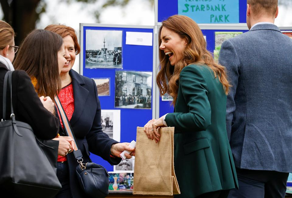 EDINBURGH, SCOTLAND - MAY 27: Prince William, Duke of Cambridge and Catherine, Duchess of Cambridge during their visit to Starbank Park on May 26, 2021 in Edinburgh, Scotland. (Photo by Phil Noble - WPA Pool/Getty Images)