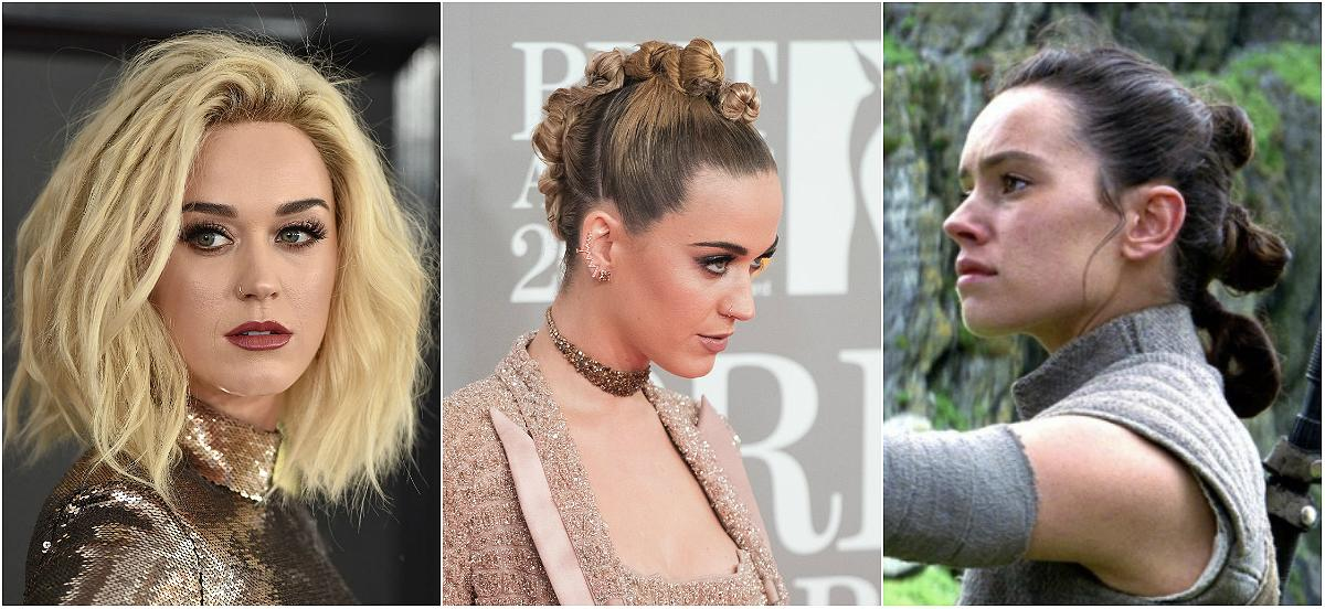 "<p><b>When: February 2017 </b> <br />Katy Perry was spotted with a faux-hawk bun at the 2017 BRIT Awards — and the Internet is wondering, did she get hairspiration from Rey's triple bun style in ""Star Wars: The Force Awakens""? Perry sectioned off her bleached-blonde locks from her forehead to the back of her crown and created mini twist buns along the way, securing with clear elastics. She smoothed down her dark roots (a reminder of her raven-hair days)—and voila! Who'd win in a hair battle between Katy and Rey? <i> (Photos: Getty /Star Wars) </i> </p>"