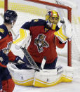 Florida Panthers goalie Roberto Luongo (1) stops a shot by the Philadelphia Flyers in the third period of an NHL hockey game in Sunrise, Fla., Saturday, Nov. 1, 2014. The Panthers won 2-1. (AP Photo/Alan Diaz)