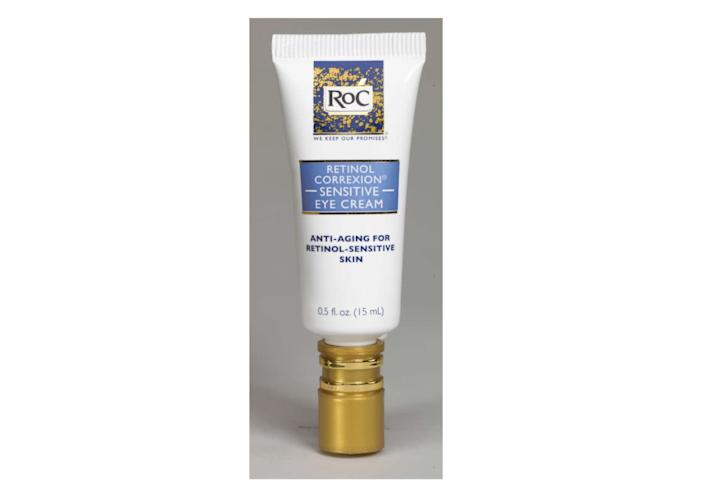 "Mullans also recommends RoC Correxion Eye Cream because it's good for decreasing signs of aging around the eyes. RoC Correxion Eye Cream contains superstar ingredient retinol, which helps correct fine lines and wrinkles. RoC also has a formula for those who are sensitive to retinol and need something gentler. &lt;br&gt;&lt;br&gt;<strong>Find it and the </strong><a href=""https://www.walmart.com/ip/RoC-Retinol-Correxion-Anti-Aging-Sensitive-Skin-Eye-Cream-5-fl-oz/15747289"" rel=""nofollow noopener"" target=""_blank"" data-ylk=""slk:sensitive formula"" class=""link rapid-noclick-resp""><strong>sensitive formula</strong></a><strong> for $17.95 on </strong><a href=""https://www.walmart.com/ip/RoC-Retinol-Correxion-Anti-Aging-Eye-Cream-Treatment-5-fl-oz/13269685?findingMethod=wpa&amp;requestUUID=1dac8581-c392-435c-99c0-fedfe8053bfe&amp;tgtp=1&amp;cmp=233895&amp;relRank=0&amp;tax=1085666_7192911_8534614_4575174_1570772&amp;pt=ip&amp;adgrp=236121&amp;bt=1&amp;plmt=1x1_B-C-OG_TI_1-1_PDP-Buybox&amp;wpa_qs=SZWS3ZDeIj81TLYLCudx6cRWNntQSDw-QCpMTGYE67EXNAGQHpqSbWZX3zxXohuXoLzORIyweG_GSNumAPnugWezGrPV5_798U67pADkBpw&amp;bkt=__bkt__&amp;tn=WMT&amp;mLoc=top&amp;pgid=15747289&amp;isSlr=false&amp;itemId=13269685&amp;relUUID=1dac8581-c392-435c-99c0-fedfe8053bfe&amp;adUid=d04f897b-0919-4f06-8bbb-77a17cb3b2b1&amp;adpgm=wpa&amp;pltfm=desktop"" rel=""nofollow noopener"" target=""_blank"" data-ylk=""slk:Walmart.com"" class=""link rapid-noclick-resp""><strong>Walmart.com</strong></a><strong>.&nbsp;&nbsp;</strong>"