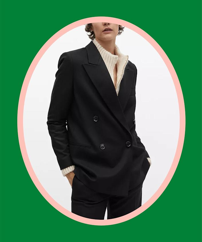 """<br><br><strong>Mango</strong> Double-Breasted Structured Blazer, $, available at <a href=""""https://go.skimresources.com/?id=30283X879131&url=https%3A%2F%2Fwww.macys.com%2Fshop%2Fproduct%2Fmango-womens-double-breasted-structured-blazer%3FID%3D11909298"""" rel=""""nofollow noopener"""" target=""""_blank"""" data-ylk=""""slk:Macy's"""" class=""""link rapid-noclick-resp"""">Macy's</a>"""