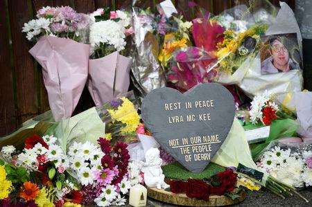 Flowers are seen at the scene where the 29-year-old journalist Lyra McKee was shot dead, in Londonderry