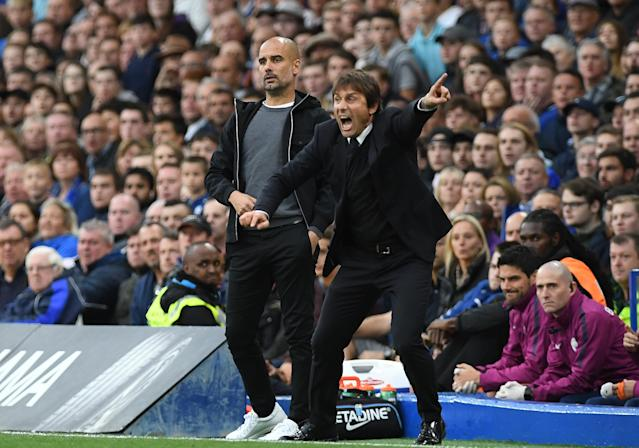 Saturday's showdown was a tactical battle between Pep Guardiola (left) and Antonio Conte. (Getty)