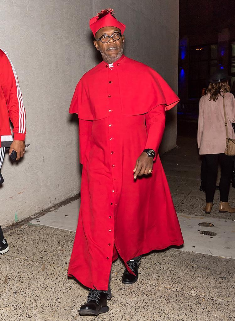 <p>Jackson went holy and dressed as a cardinal in the Catholic Church for creepy-movie maker M. Night Shyamalan's Halloween festivities. (Photo: Gilbert Carrasquillo/GC Images) </p>