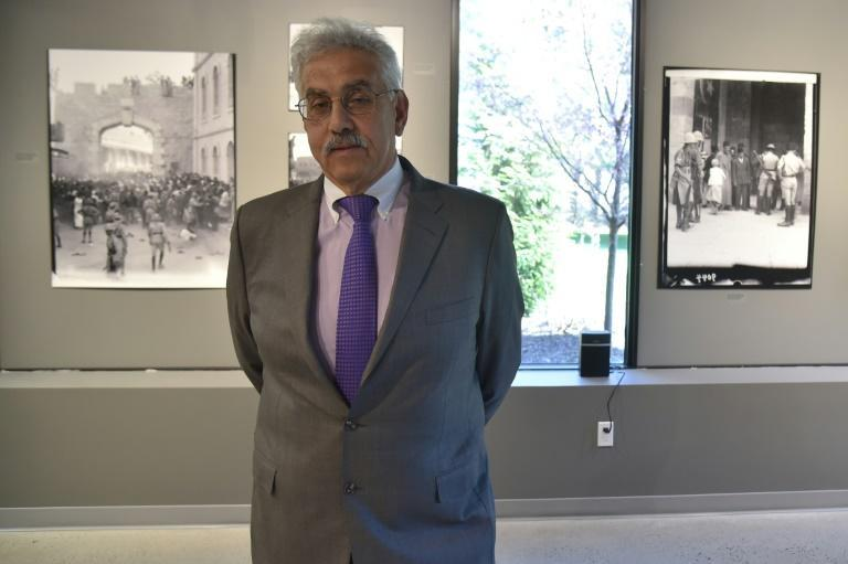 Faisal Saleh, founder of Palestinian Museum, speaks during its inauguration in Woodbridge, Connecticut