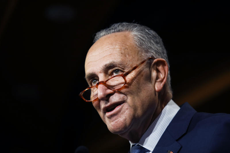 Democratic leader Sen. Chuck Schumer, D-N.Y., talk to reporters about the impeachment trial of President Donald Trump on charges of abuse of power and obstruction of Congress, at the Capitol in Washington, Thursday, Jan. 16, 2020. (AP Photo/Matt Rourke)