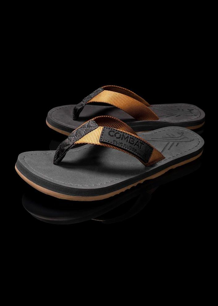 """<p>combatflipflops.com</p><p><strong>$39.99</strong></p><p><a href=""""https://go.redirectingat.com?id=74968X1596630&url=https%3A%2F%2Fwww.combatflipflops.com%2Fcollections%2Fwomens-flip-flops%2Fproducts%2Fwomens-floperator-coyote&sref=https%3A%2F%2Fwww.thepioneerwoman.com%2Ffashion-style%2Fg35524011%2Fcomfortable-flip-flops%2F"""" rel=""""nofollow noopener"""" target=""""_blank"""" data-ylk=""""slk:Shop Now"""" class=""""link rapid-noclick-resp"""">Shop Now</a></p><p>The veterans that founded this shoe company make their flip flops from military-grade materials, so you know they're built to last. Each pair sold funds one day of school for an Afghan girl. </p>"""