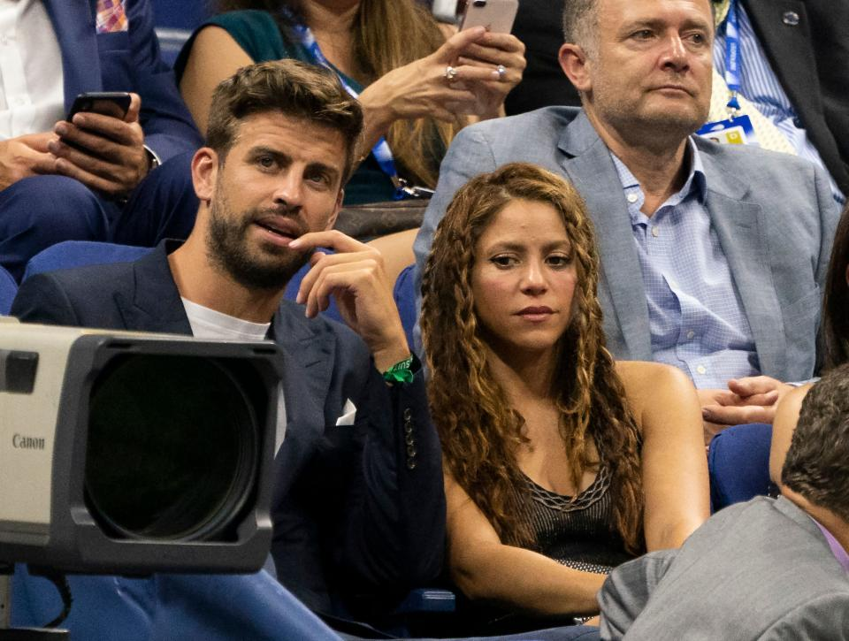Spanish football player Gerard Pique and Colombian singer Shakira watch Rafael Nadal of Spain and Diego Schwartzman of Argentina during their Quarter-finals Men's Singles match at the 2019 US Open at the USTA Billie Jean King National Tennis Center in New York on September 4, 2019. (Photo by Don Emmert / AFP)        (Photo credit should read DON EMMERT/AFP via Getty Images)