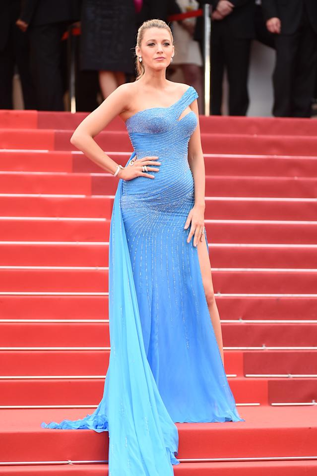 Blake turned to Versace for the one-shoulder gown she wore on the red carpet at Cannes in 2016, while pregnant with her daughter Inez. Complete with a dramatic train and a thigh-high split, it remains arguably one of the best pregnancy red carpet looks of all time. [Photo: Getty]