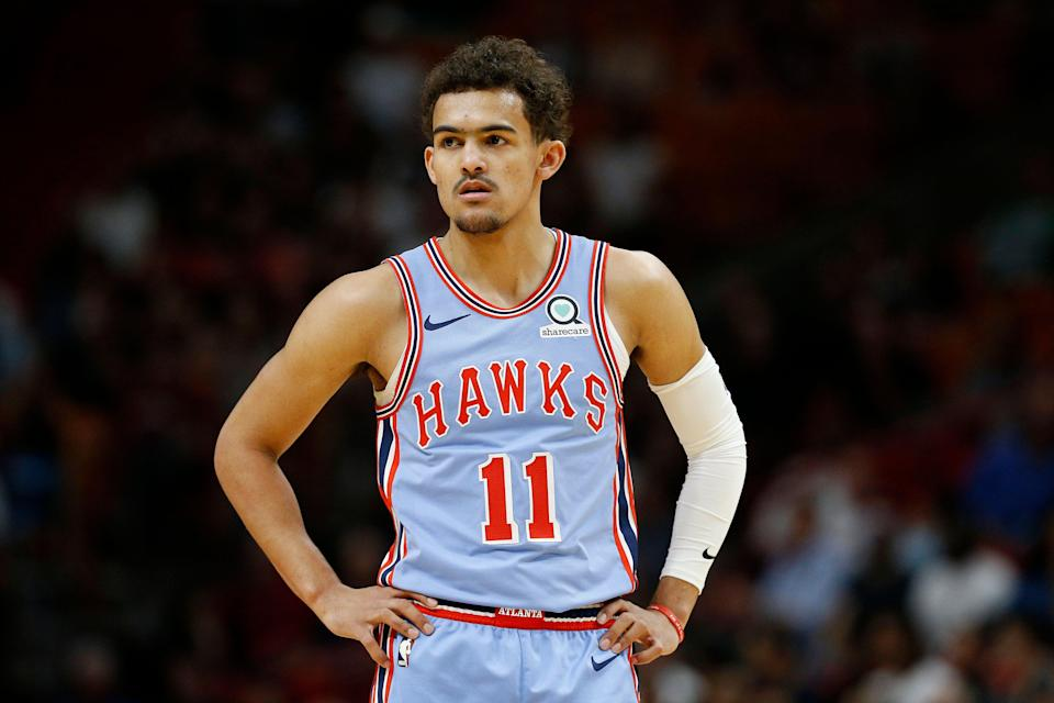 Trae Young is averaging 18.4 points, 3.6 rebounds and 7.7 assists this season. (Getty Images)