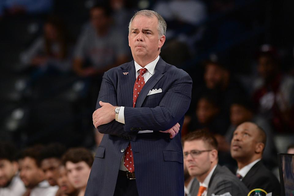 ATLANTA, GA  FEBRUARY 04:  Virginia Tech head coach Mike Young looks on from the sideline during the NCAA basketball game between the Virginia Tech Hokies and the Georgia Tech Yellow Jackets on February 4th, 2020 at Hank McCamish Pavilion in Atlanta, GA.  (Photo by Rich von Biberstein/Icon Sportswire via Getty Images)