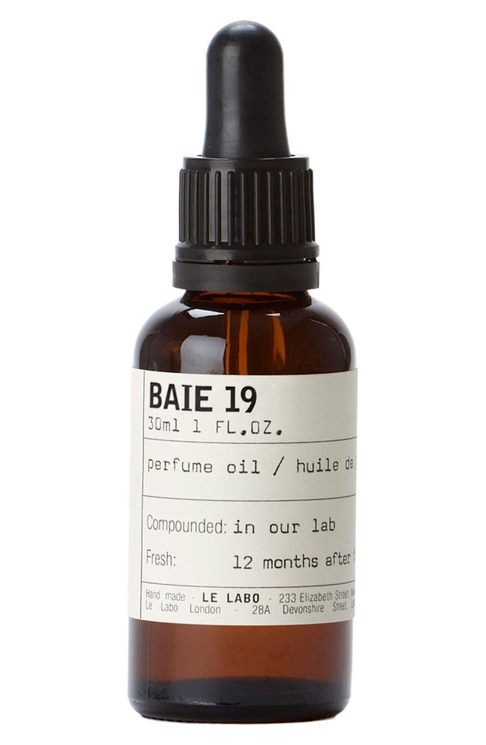 """<p><strong>Le Labo</strong></p><p>nordstrom.com</p><p><strong>$152.00</strong></p><p><a href=""""https://go.redirectingat.com?id=74968X1596630&url=https%3A%2F%2Fshop.nordstrom.com%2Fs%2Fle-labo-baie-19-perfume-oil%2F5575753&sref=https%3A%2F%2Fwww.marieclaire.com%2Fbeauty%2Fg32959650%2Fbest-fall-perfumes%2F"""" rel=""""nofollow noopener"""" target=""""_blank"""" data-ylk=""""slk:SHOP IT"""" class=""""link rapid-noclick-resp"""">SHOP IT</a></p><p>Juniper berries, patchouli, and green leaves make for a pleasurable earthy scent—Rub this oil on your pulse points and even at the ends of your hair as an alternative to your classic eau de toilette. </p>"""