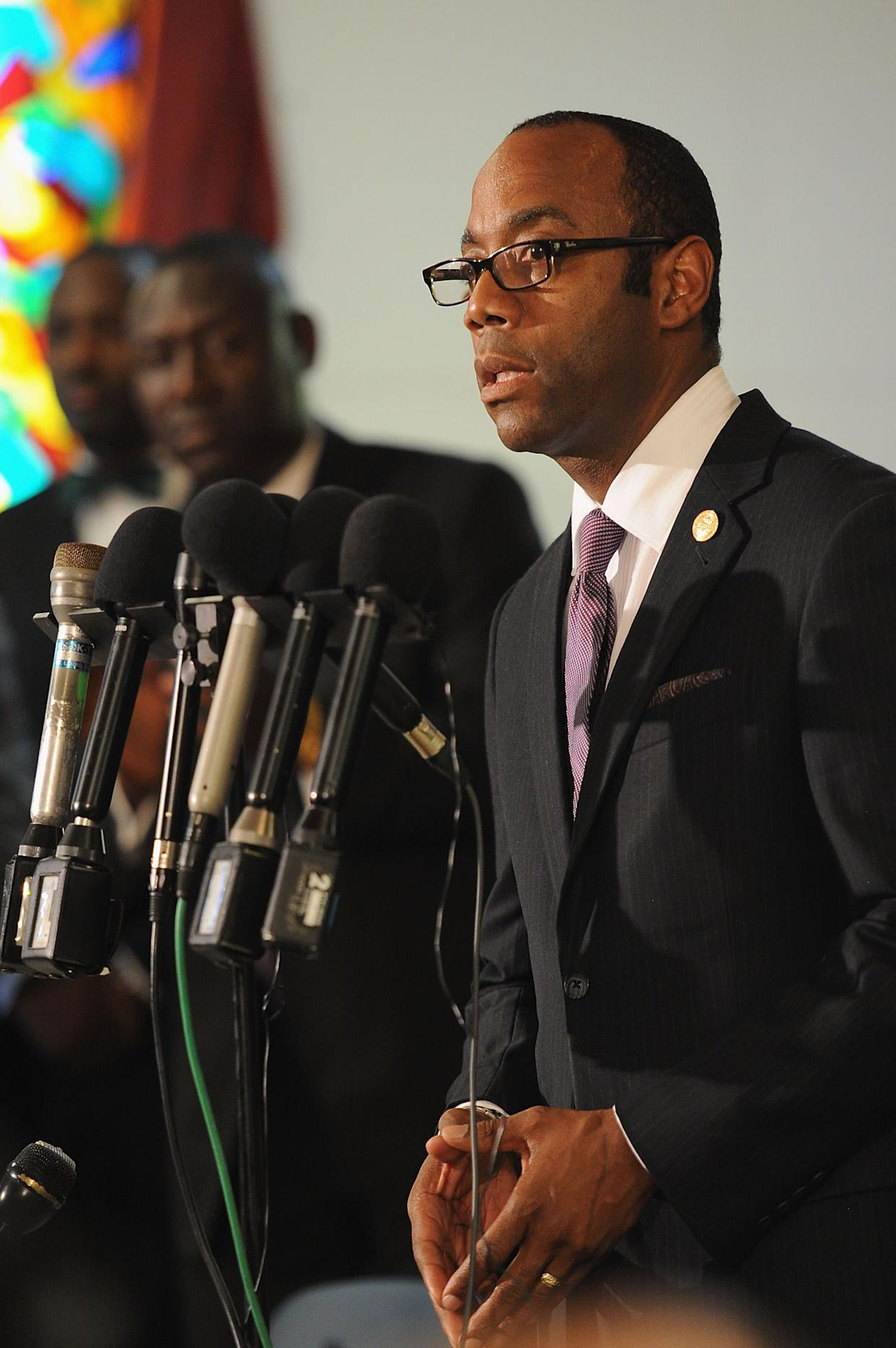JENNINGS, MO - AUGUST 11: Cornell Williams Brooks, Chief Executive Officer of the National Association of the Advancement of Colored People (NAACP) speaks during a press conference regarding the shooting death of 18-year-old Michael Brown at Jennings Mason Temple Church of God In Christ, on August 11, 2014 in Jennings, Missouri. The fatal shooting by police of the unarmed teen in Ferguson, Missouri has sparked outrage in the community and set off civil unrest including looting and vandalism. (Photo by Michael B. Thomas/Getty Images)