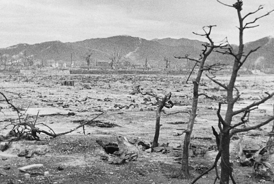 This file photo taken in 1945 shows the devastated city of Hiroshima in days after the first atomic bomb was dropped by a US Air Force B-29 on August 6, 1945.
