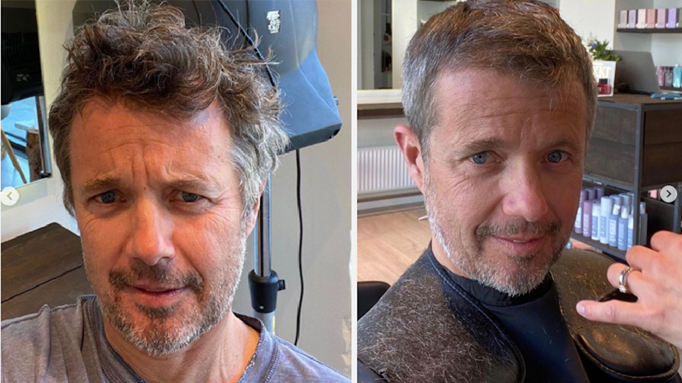 (left) Danish prince Frederick with long hair during pandemics, (right) haircut after hairdressers allowed to re-open