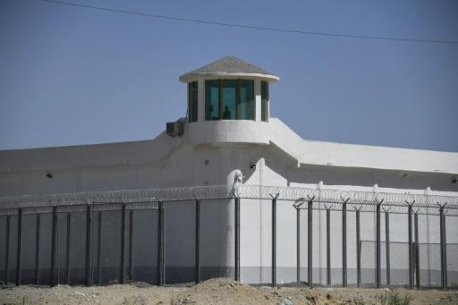A watchtower at a high-security facility on the outskirts of Hotan, in China's northwestern Xinjiang region, believed to house a re-education camp where mostly Muslims are detained