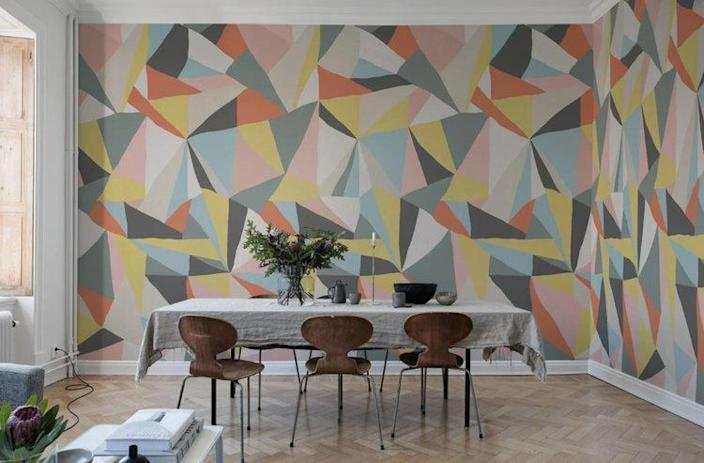 Update your decor this new year to make a bold statement like this geometric accent wall.