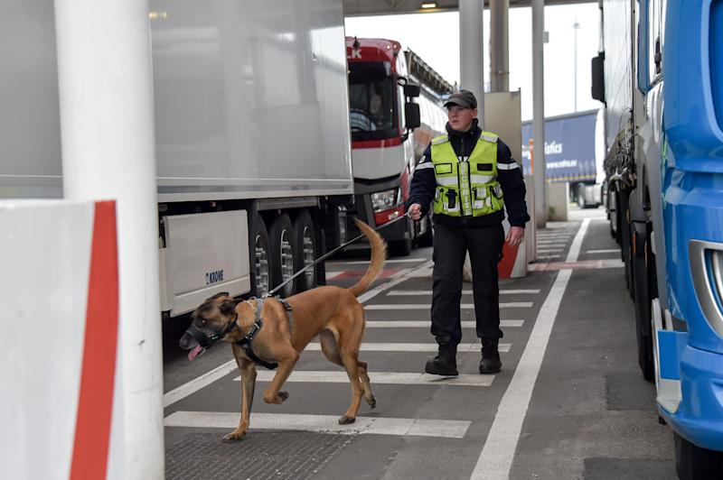 A security agent controls trucks assisted with a dog, on March 28, 2019 at the Coquelles Eurotunnel border post, a new border inspection post for customs and sanitary control built in anticipation of a no-deal brexit. - Under EU rules, animals, fresh food and agri-feed from Britain will be classified as being from a third country post Brexit, with checks for disease, traceability, rules of origin and welfare mandatory on the French side. (Photo by Philippe HUGUEN / AFP) (Photo credit should read PHILIPPE HUGUEN/AFP/Getty Images)